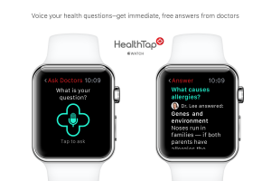 Sample screen of HealthTap app for Apple Watch