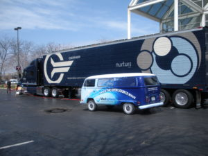 Medsphere VW Bus Next to Cerner Semi Truck