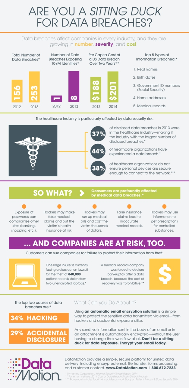 Are You A Sitting Duck for HIPAA Data Breaches Infographic