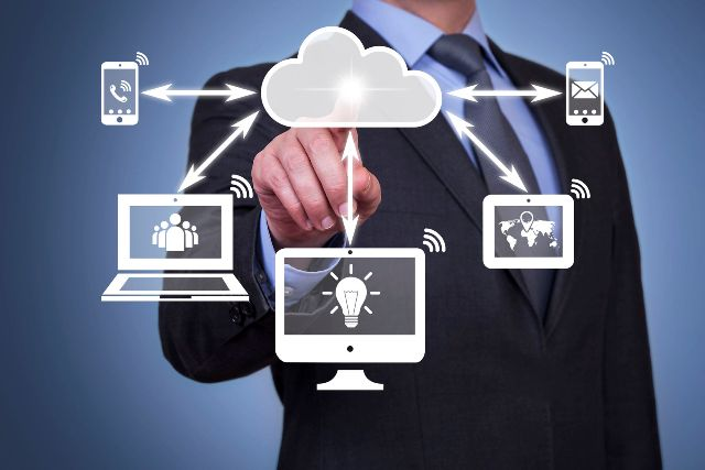 37388020 - pushing cloud computing button on touch screen